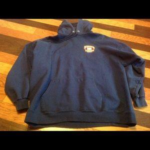Graphic heavyweight pullover hoodie navy pocketsXL